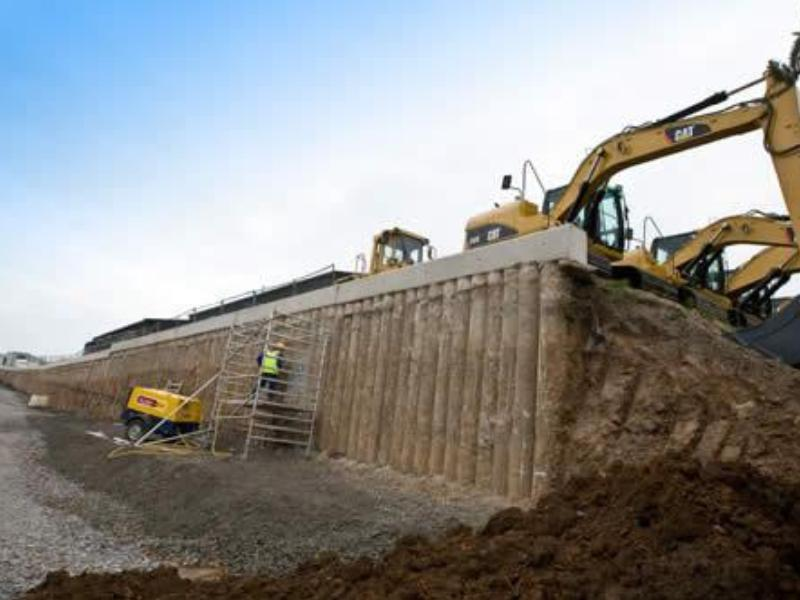 Cat Dealership Retaining Wall Dawson Wam